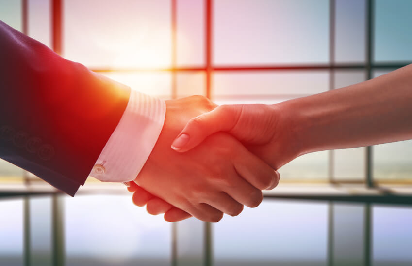 Handshake, new partner